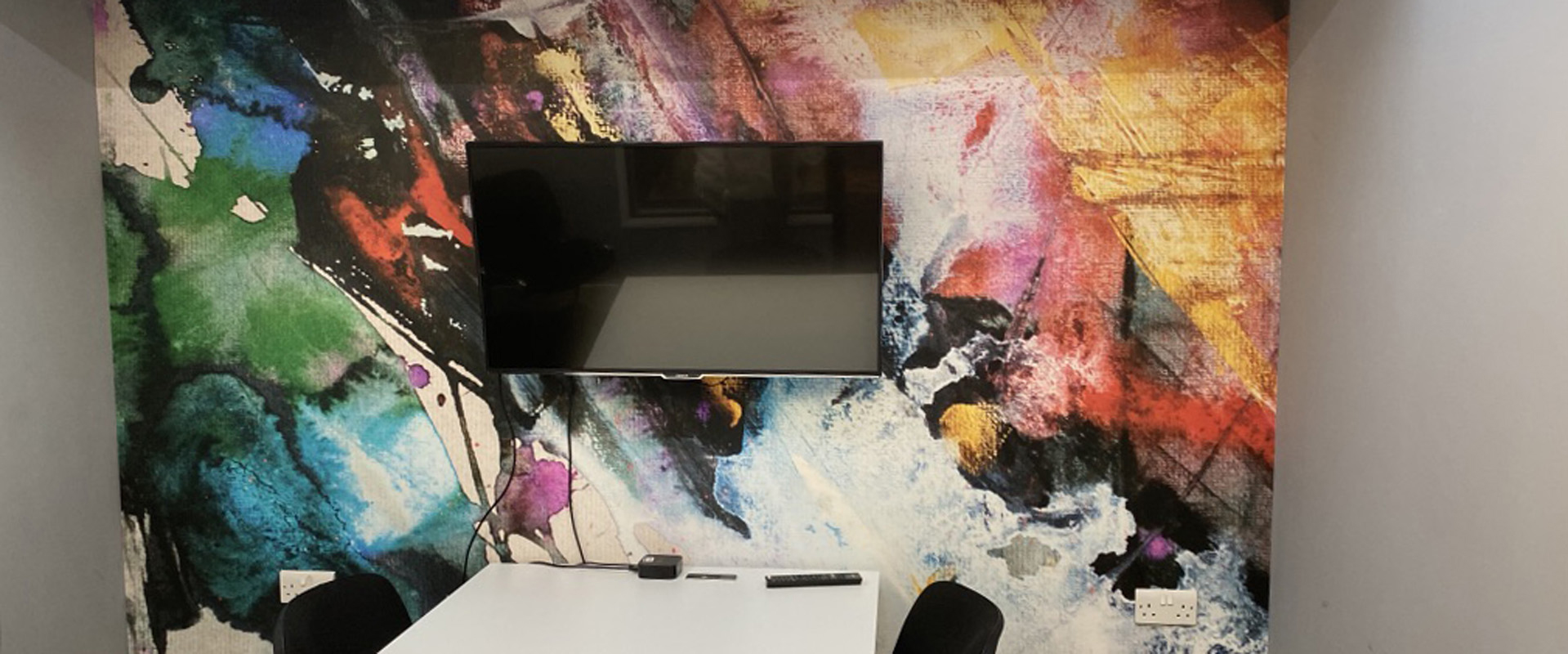 office wall decal and tv screen