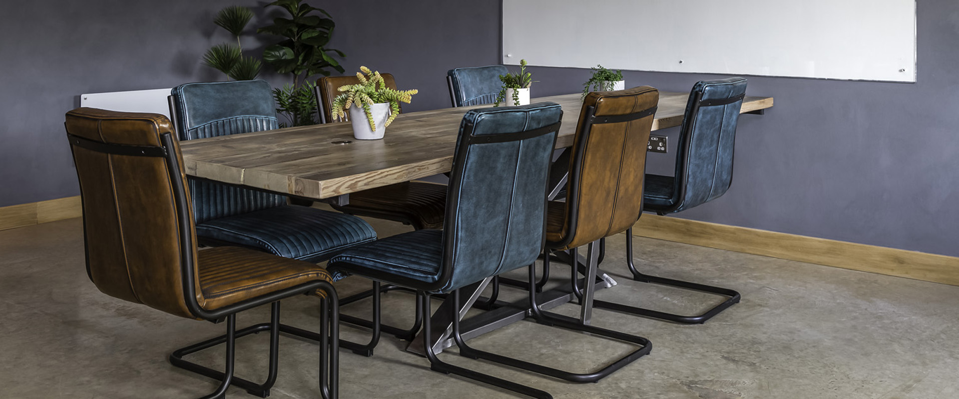 rustic and concrete style office interior
